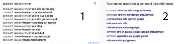 Google nous donne des suggestions de mots-clés de longue traîne dans ses SERPs