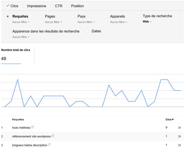 Google nous propose des mots-clés liés à notre thématique dans Search Console