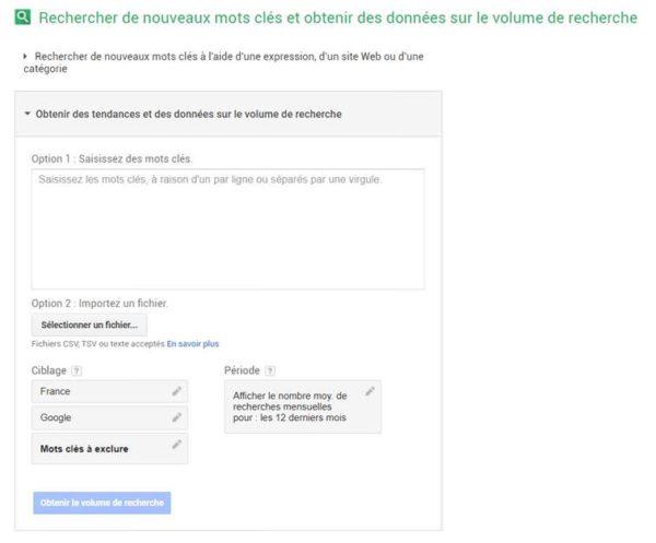 L'outil de planification des mots-clés de Google pour importer un fichier .csv
