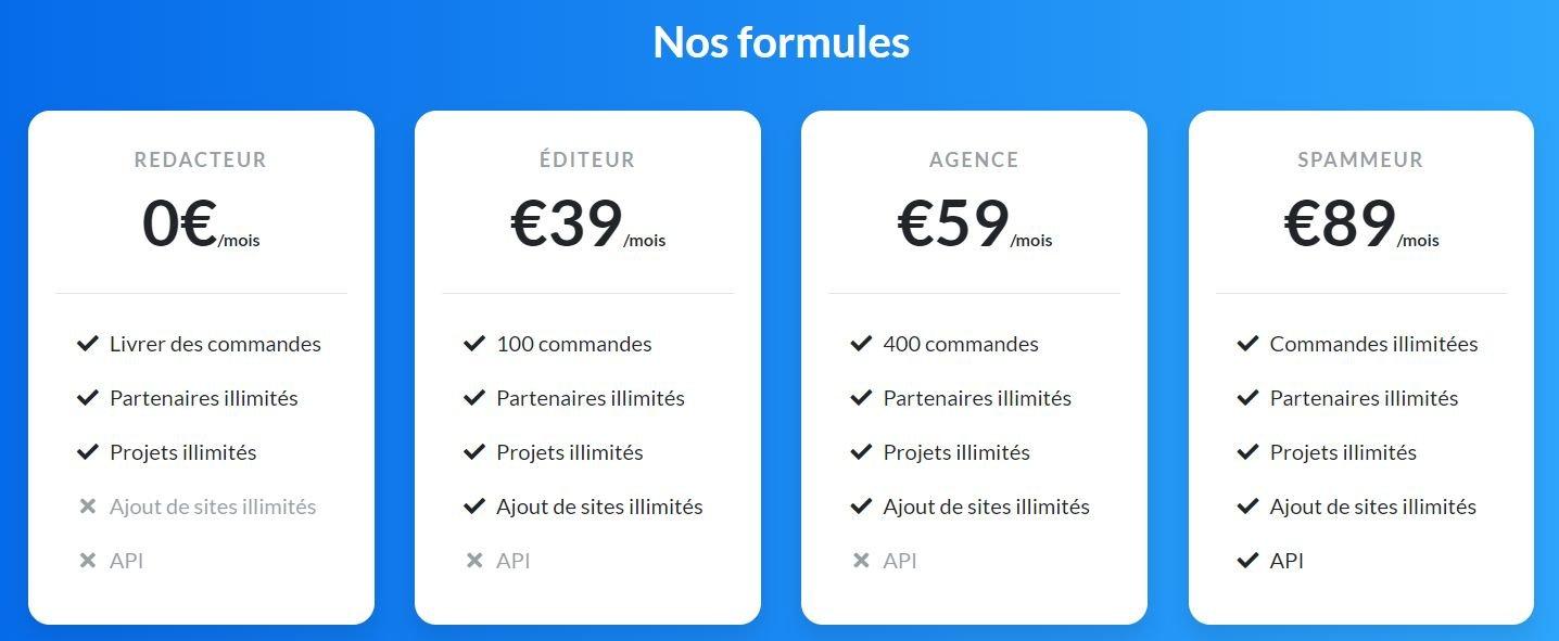 Les formules Redacteur.site